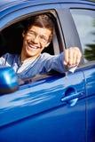 汽车的人有钥匙的 免版税库存图片