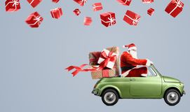 汽车的圣诞老人 图库摄影