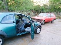 汽车的情况在洪水以后的 库存图片