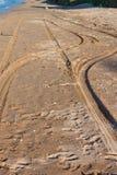 从汽车的踪影在沙子 库存照片