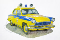 汽车的水彩绘画 免版税库存图片