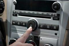 汽车立体声力量按钮 免版税图库摄影