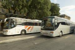 汽车站在力耶卡市在克罗地亚 免版税库存照片
