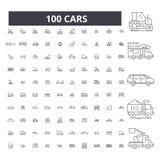 汽车编辑可能的线象,100传染媒介集合,汇集 汽车黑概述例证,标志,标志 向量例证