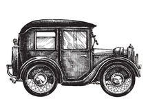汽车葡萄酒传染媒介商标设计模板 运输 免版税库存照片