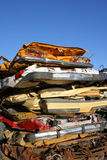 汽车被击碎的栈 免版税库存图片