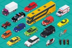 汽车象 平的3d等量优质城市运输 轿车,搬运车,货物卡车,越野,公共汽车,滑行车,摩托车 免版税库存图片