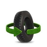 汽车轮胎 与绿色箭头的概念从草 回收概念 万圣节隔离南瓜白色 免版税库存图片