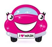 汽车逗人喜爱的桃红色洗涤 免版税图库摄影