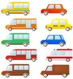 汽车逗人喜爱的集剪影 库存照片
