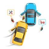 汽车通行事故顶视图 免版税库存照片