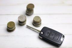 汽车钥匙和硬币在背景 免版税库存照片