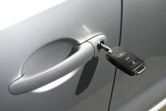 汽车钥匙在插孔 免版税库存图片