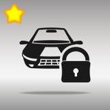 汽车锁黑色象按钮商标标志 免版税库存图片