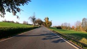汽车驱动在与秋天的秋天上色了树 股票视频