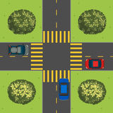 汽车鸟瞰图在交叉点的 库存照片