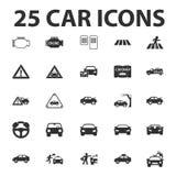 汽车,修理为网设置的25个黑简单的象 图库摄影