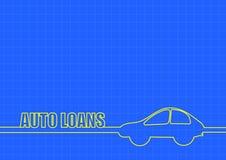 汽车贷款和汽车在蓝色背景排行 图库摄影
