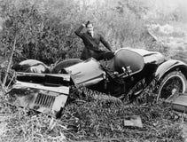 汽车击毁(所有人被描述不更长生存,并且庄园不存在 供应商保单将没有式样relea 免版税库存照片