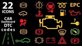 汽车仪表板盘区显示,黄色红色绿色显示的22个象汇集 DTC代码 检查引擎警告 皇族释放例证