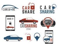 汽车份额被设置的商标设计 汽车分享概念 汽车集体用法通过Web应用程序 汽车共用模式象 免版税图库摄影