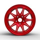 汽车3D例证的红色钢盘 免版税库存照片