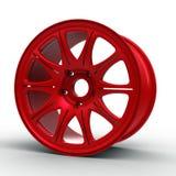 汽车3D例证的红色钢盘 库存图片