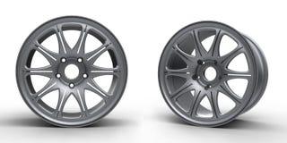 汽车3D例证的钢盘 库存图片