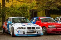 汽车BMW 3系列,赛跑motorsport的项目漂泊 免版税图库摄影