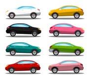 汽车eps10图标例证向量 五颜六色的传染媒介汽车符号集 向量例证