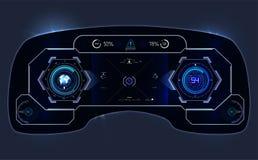汽车HUD仪表板 抽象真正图表接触用户界面 未来派用户界面HUD 库存图片