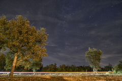 汽车lighttrail在充分天空下星 图库摄影