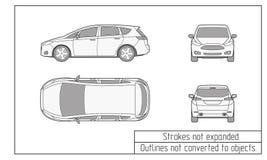 汽车van drawing概述没转换成对象 免版税库存照片