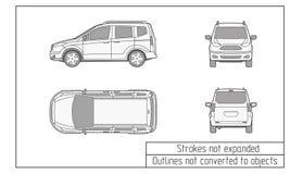 汽车van drawing概述没转换成对象 库存照片