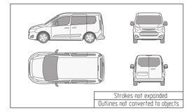 汽车van drawing概述没转换成对象 免版税库存图片