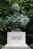 沃尔夫冈・阿马德乌・莫扎特胸象在萨尔茨堡,奥地利 免版税库存图片