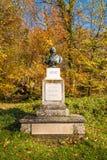 沃尔夫冈・阿马德乌・莫扎特胸象在Kapuzinerberg hil的公园 免版税图库摄影