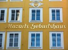 沃尔夫冈・阿马德乌・莫扎特出生地在萨尔茨堡, 免版税库存照片