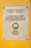 沃尔夫冈・阿马德乌・莫扎特出生地在萨尔茨堡 免版税图库摄影