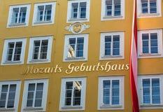 沃尔夫冈・阿马德乌・莫扎特出生地在萨尔茨堡 免版税库存照片