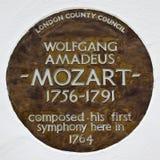 沃尔夫冈・阿马德乌・莫扎特匾在伦敦 免版税图库摄影