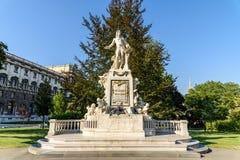 沃尔夫冈・阿马德乌・莫扎特雕象在维也纳 图库摄影
