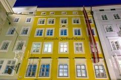 沃尔夫冈・阿马德乌・莫扎特,萨尔茨堡诞生房子  免版税库存照片