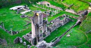 沃尔泰拉,罗马剧院废墟 意大利托斯卡纳 免版税图库摄影