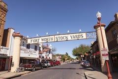 沃思堡牲畜饲养场历史的区 TX,美国 库存照片