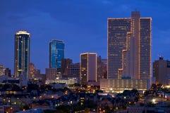 沃斯堡得克萨斯都市风景在晚上 免版税图库摄影