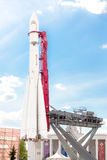 沃斯托克在VDNKh公园复合体的太空飞船发射器在莫斯科 免版税库存图片