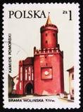沃林门和Piastowska塔在Kamien Pomorski,大约1977年 免版税库存图片