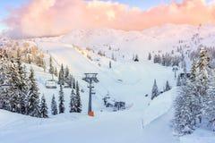 沃热尔的滑雪中心 免版税库存图片