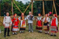 沃罗涅日,俄罗斯- 2017年9月08日:传统俄国民间传说合奏 免版税图库摄影